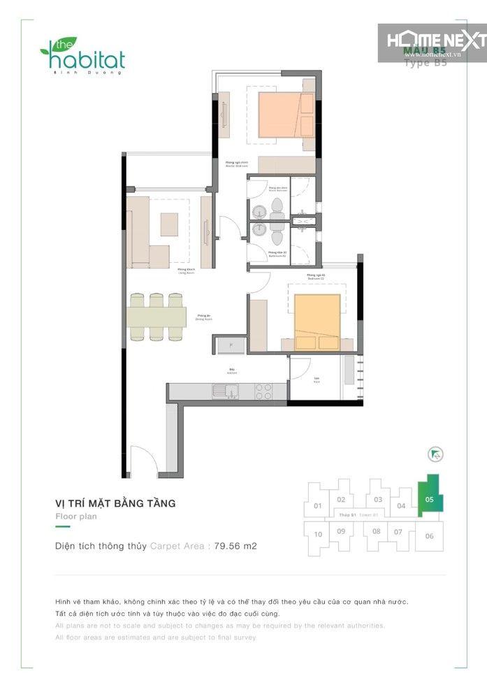 thiết kế căn hộ 2 phòng ngủ habitat giai đoạn 2