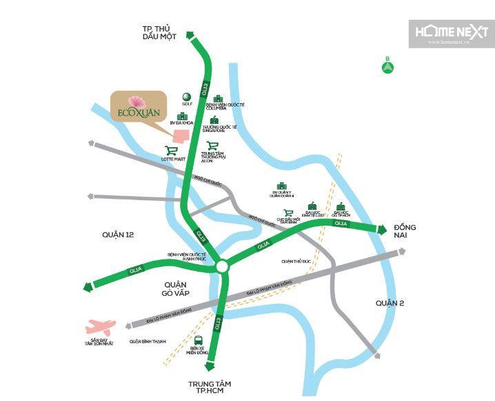 vị trí dự án Eco Xuân Thuận An Bình Dương