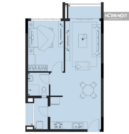 Mặt bằng cho thuê căn hộ Eco Xuân 1 phòng ngủ