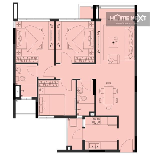 cho thuê căn hộ eco xuân 3 phòng ngủ