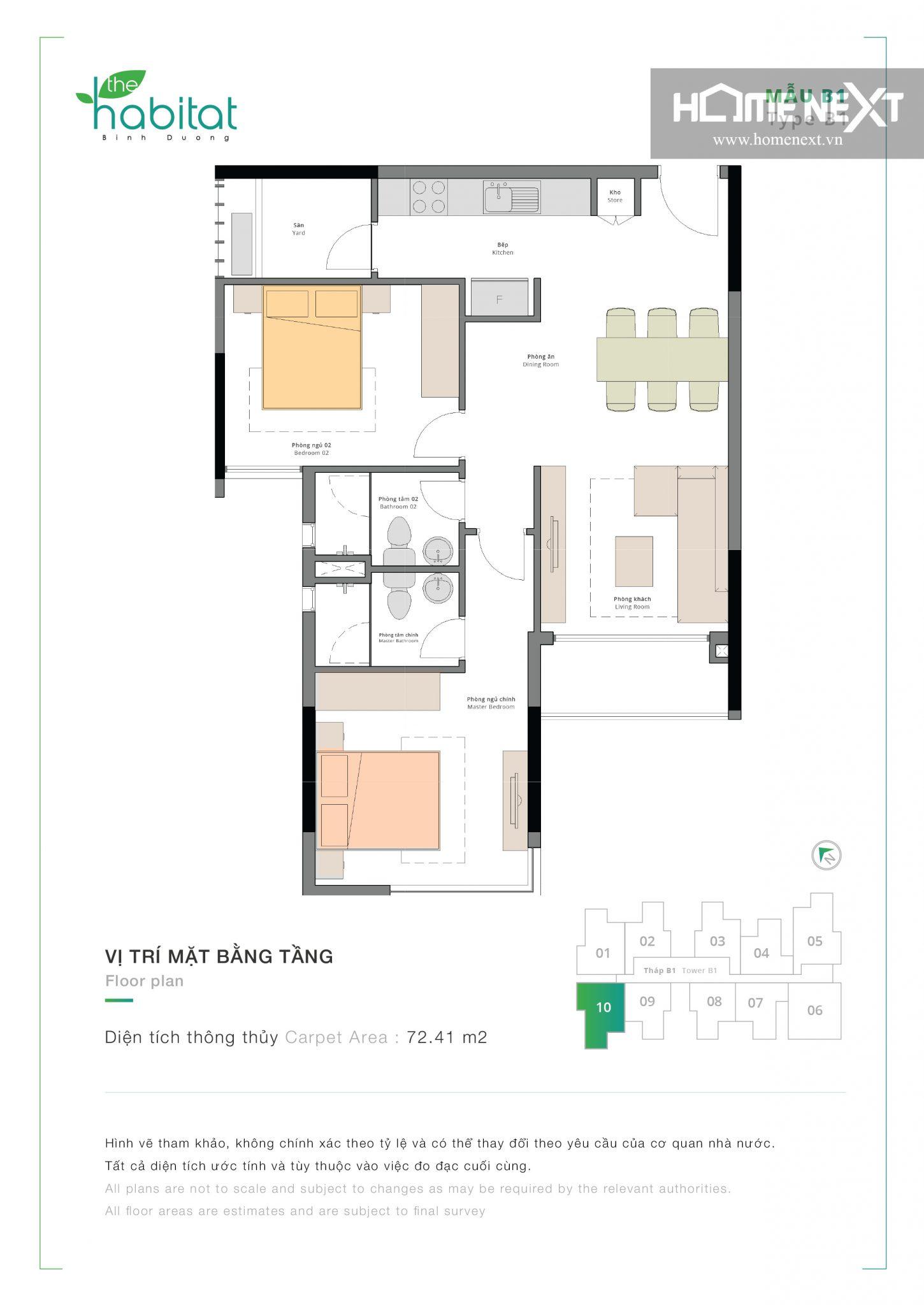 cho thuê căn hộ the habitat 2 phòng ngủ