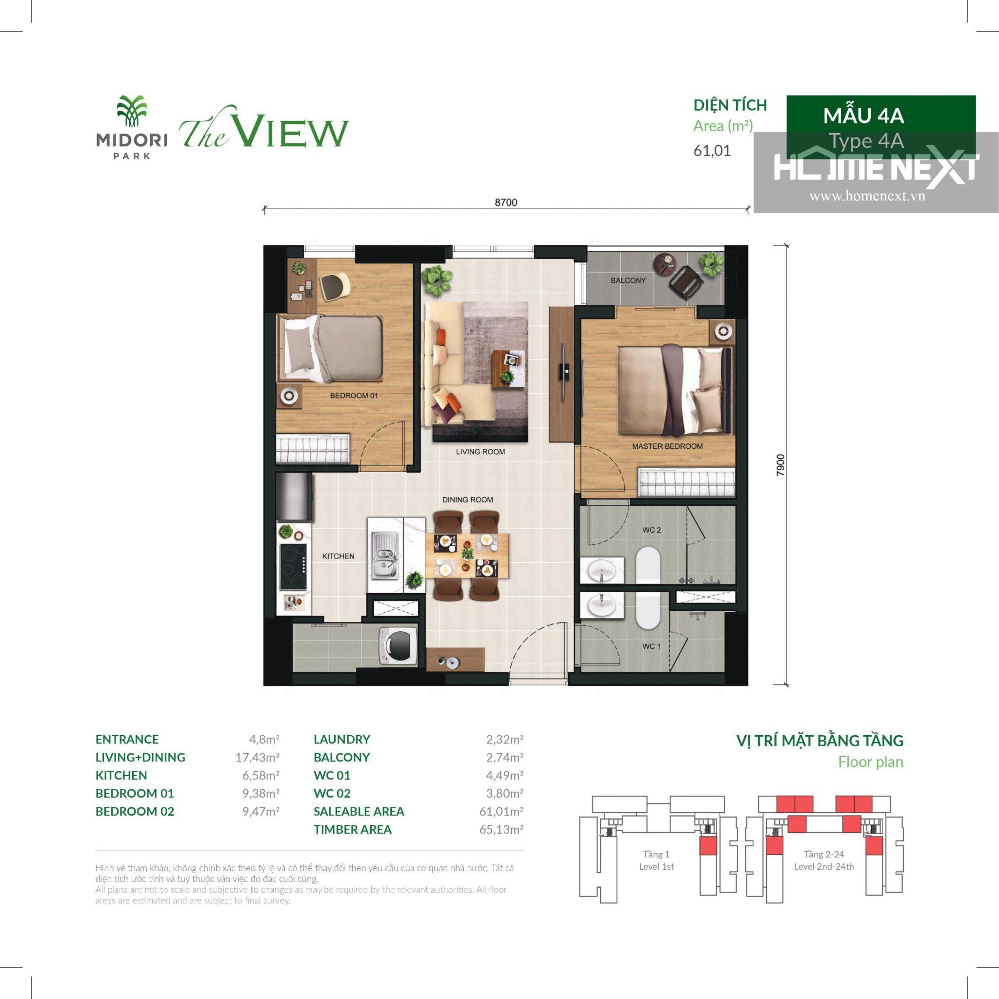 mặt bằng căn hộ The View