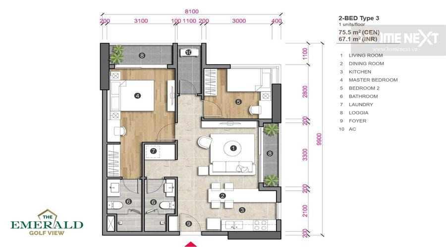 mặt bằng loại 3 căn 3 phòng ngủ