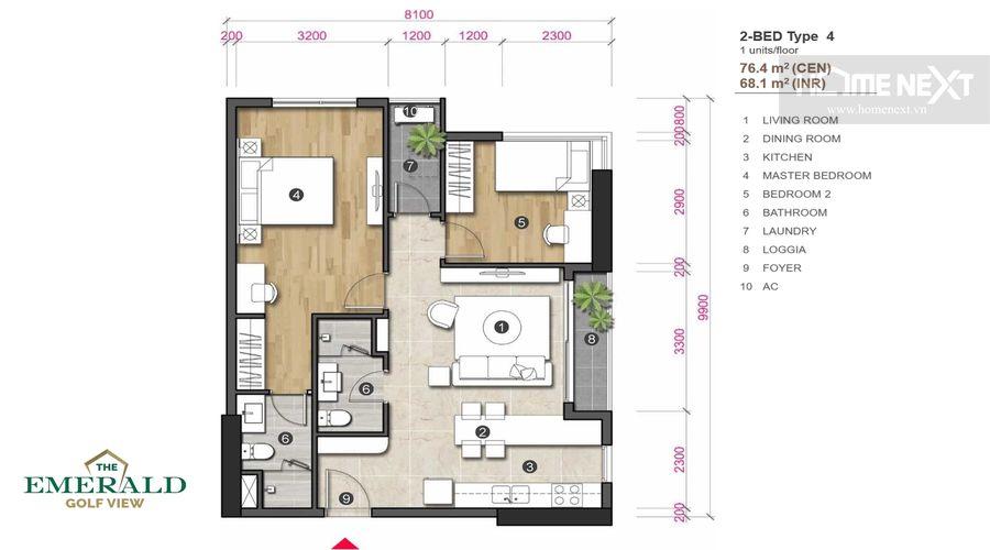 loại 4 căn hộ 2 phòng ngủ