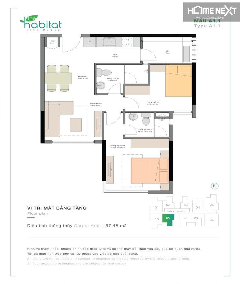 Thiết kế căn hộ Habitat 2 phòng ngủ 57m2