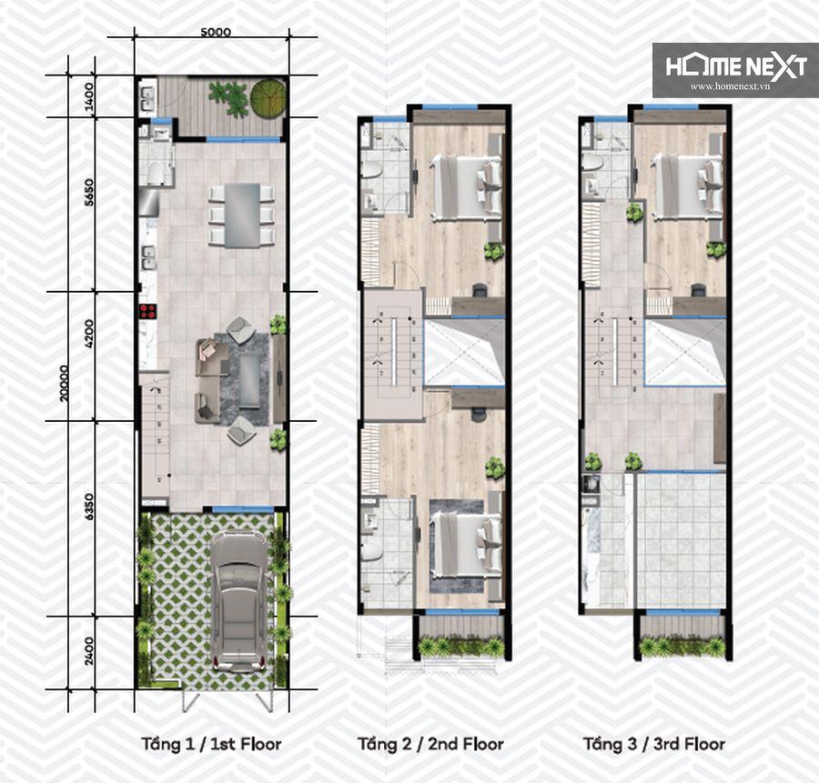 nhà phố tân phước khách 1 trệt 2 lầu 5x20m